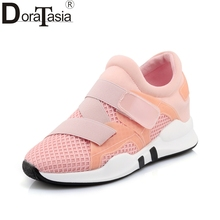 Купить с кэшбэком DoraTasia Plus size 29-45 Fashion Black pink white Woman Vulcanize Shoes Leisure light walking Casual Shoes women footwear
