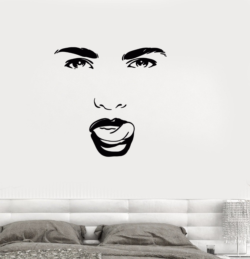 Eyes wall stickers wow modern beauty salon valentine wall decoration - 2016 New Fashion Vinyl Decal Beauty Salon Woman Face Eyes Tongue Girl Room Wall Stickers Free