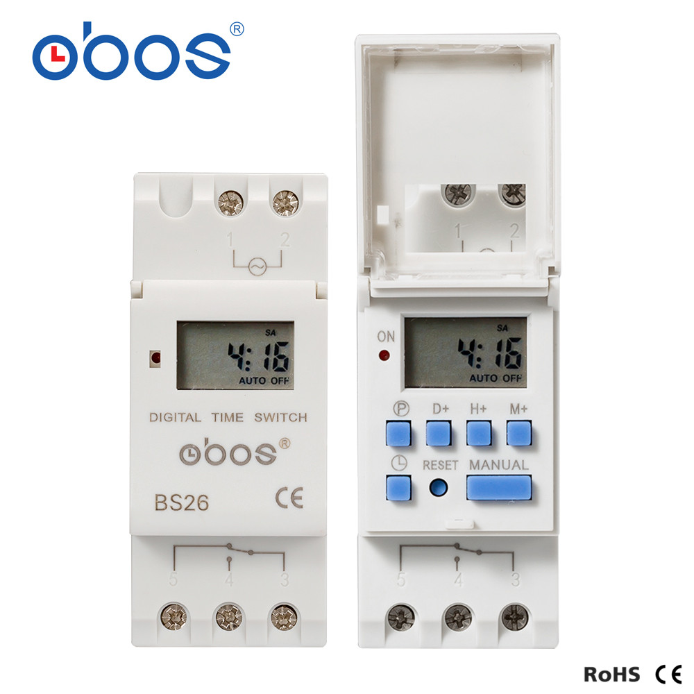 OBOS THC15A New Power outages memory 220V digital timer din timer digital with 16 times on/off per day time set range 1min-168H