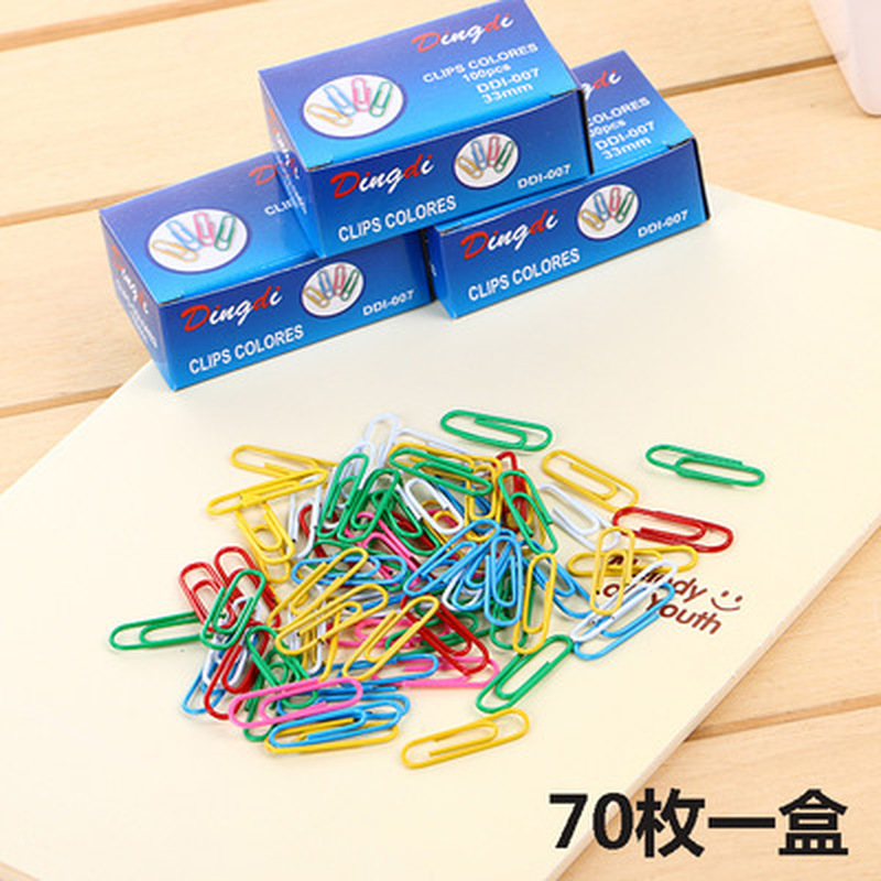 70pcs/box Color Paper Clip Cute Stationery Student Paperclips Metal Kawaii Paper Clips Kawaii School Office Supplies Paper Clip