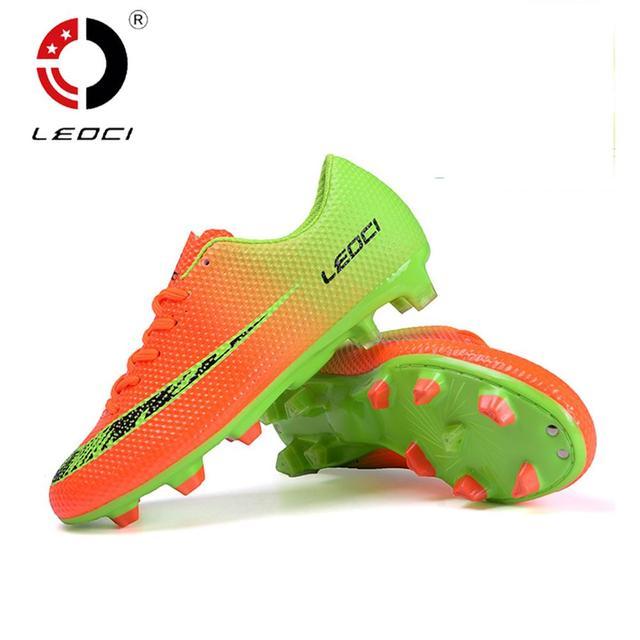 6780bf43e17f LEOCI Men Women Kids Training Shoes FG Soccer Boots Firm Ground Football  Boots Chaussure De Football Size 33-44
