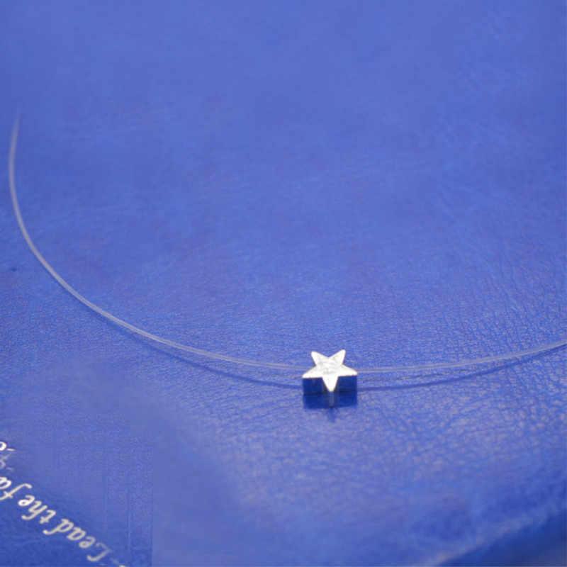 Transparent Fishing Line Chocker Love Heart Choker Necklace For Women Pendants Collier femme colar Collares Mujer bijoux