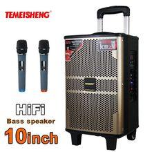 مكبر صوت خشبي عالي الطاقة 10 بوصة من TEMEISHENG مكبر صوت بخاصية البلوتوث قابل للنقل يدعم الميكروفون اللاسلكي في الهواء الطلق