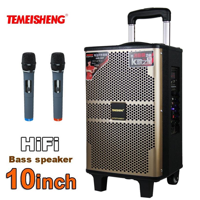 TEMEISHENG 10 Inch Wooden High Power Loudspeaker Portable Bluetooth Speaker Support Wirelss Microphone Outdoor Amplifers Column