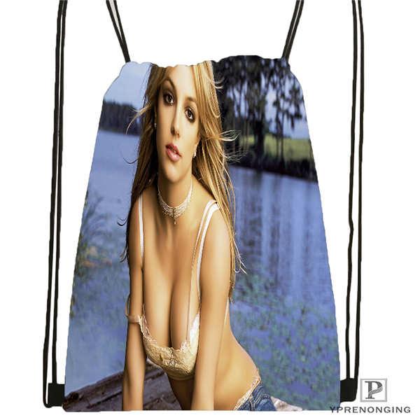 Custom Britney-Spears-models-  Drawstring Backpack Bag Cute Daypack Kids Satchel (Black Back) 31x40cm#20180611-02-70