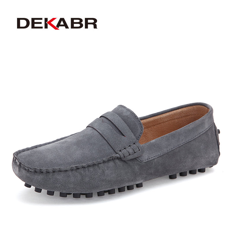 DEKABR Men Loafers   Suede     Leather   Driving Soft Moccasins Summer Lazy Slip on Handmade Male Flats Comfortable Casual Shoes For Men