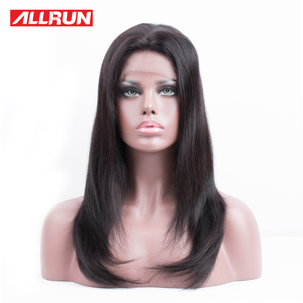 Allrun 150% Density Peruvian Straight Hair Lace Front Human Hair Wigs Non Remy 10-20 No Tangle and Shed Hair