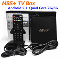 M8S Plus Android 5.1 TV Box M8S + Bluetooth Amlogic S812 Quad Core 2G/8G Kodi pre-instalado 4 K 2.4G y 5G WiFi Set Top caja Showbox