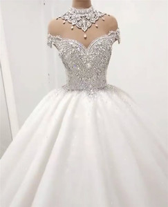 Image 2 - Custom Made Luxury Ball Gown Fluffy Glitter Tulle Crystal Beaded Diamond Formal Wedding Dresses Bridal Gowns   SC12