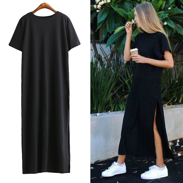 62db32f14624 Summer Side High Slit Women Sex Dress Long T shirt Dress Short Sleeves  Black New Fashion Clothing for women O neck Casual Robe