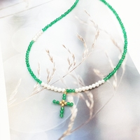 Lii Ji Unique Green Onyx,Freshwater Pearl,Cross Pendant 925 Sterling Silver Gold Color Elegant Choker Necklace Drop shipping