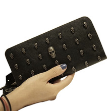 New PU Leather Women Wallets Retro Punk Skull And Crossbones Clutch Raindrops Pattern Gift Change Purses Card Holders
