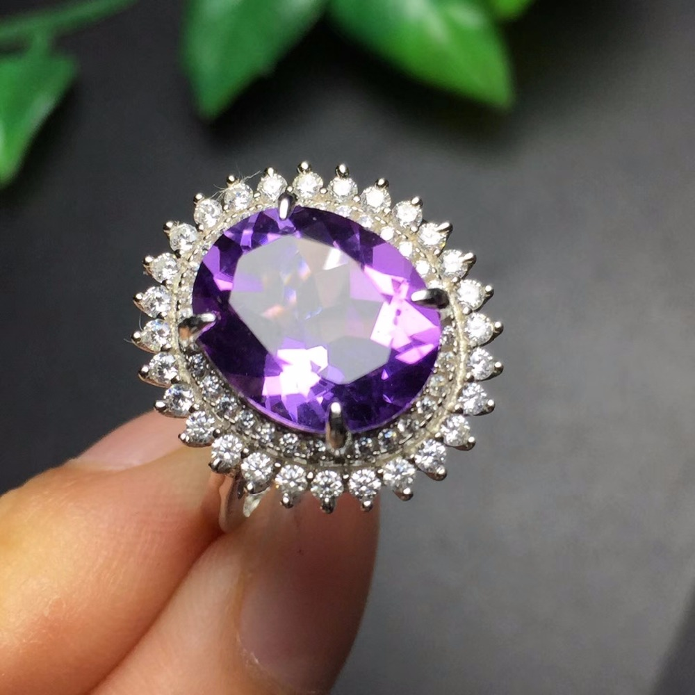 Fine Jewelry Real 925 Steling Silver s925 100% Natural amethyst Gemstone Female Pendant Necklaces Christmas Gift