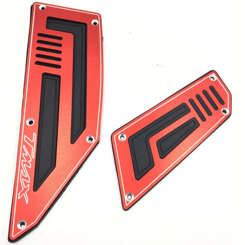 Front and Rear Footpeg Motorcycle Rider Insert Footboards Footrest Step Pad for Yamaha T Max 530 Aluminum with Rubber 4pcs Red 180 16 9 fast fold front and rear projection screen back