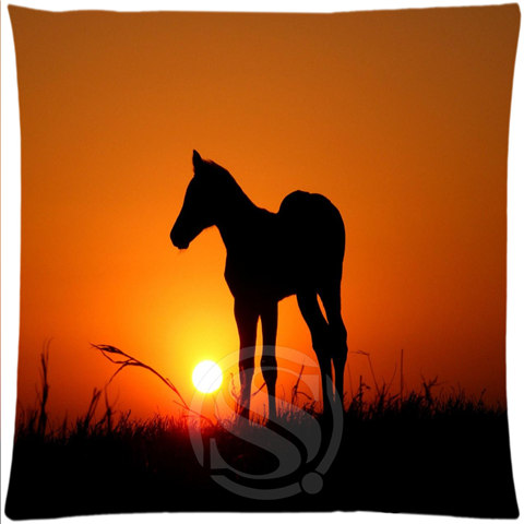 Personalized Custom Pillow Case Sunset Running Horse#1 Square Pillowcases zipper 35x35 cm (One sides) SQ00727-@H013