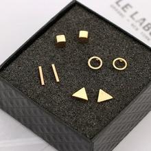 цены на Fashion 4 pairs/Set New Arrival Round Shaped Silver Gold Black Color Alloy Stud Earring For Women Ear Jewelry 4 pairs  в интернет-магазинах