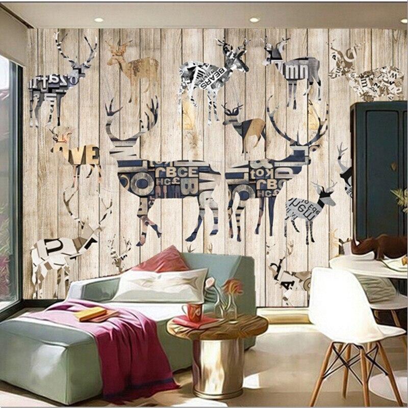 Kustom 3d Mural Modern Minimalis Wallpaper Rusa Latar Belakang