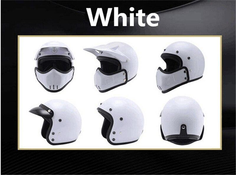 Motocross casco Maschera Staccabile Occhiali E la Bocca Filtro Perfetto per Aprire Viso Motociclo Casco Mezzo Vintage Caschi - 6