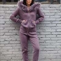 Комплект из двух предметов conjunto feminino2018 осенне зимняя одежда новый мех с крышкой вязаный комплект с толстовкой