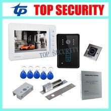 7″ TFT color screen video door phone intercom doorbell system monitor+RFID access camera+lock+bracket+power supply+exit button