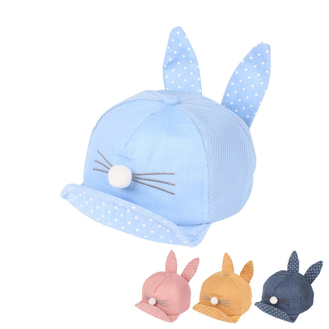 36e2716fe18 Cat Baseball Cap For Girls Dot Bunny Ear Baby Sun Cap Cotton Breathable  Baby Summer Hat