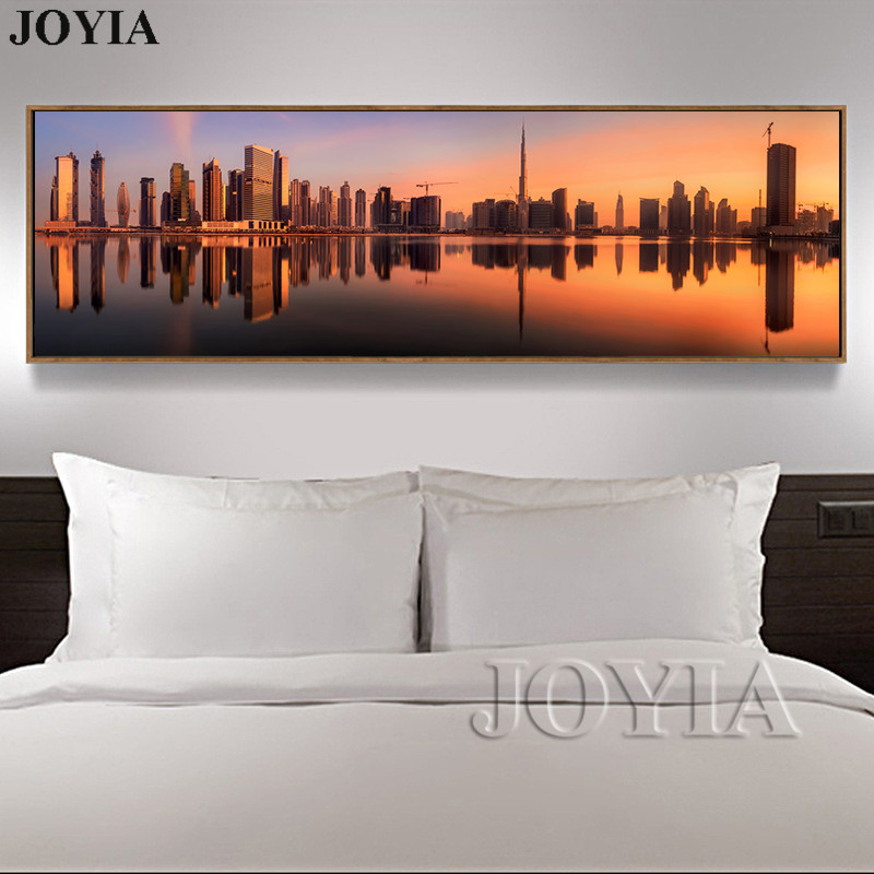 Modern Canvas Painting Wall Art The Picture For Home Decor Modernized City Skyscraper Urban Building Reflection Prints No Frame