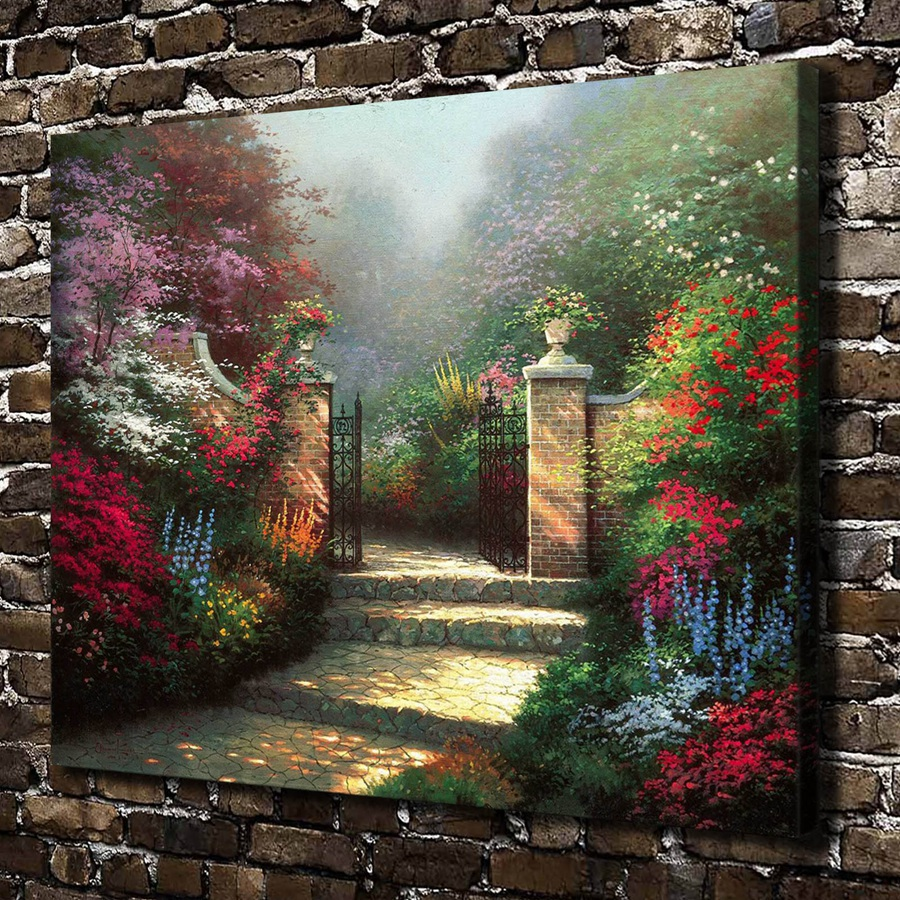 canvas painting new 1 piece thomas kinkade the victorian garden hd canvas print home decoration living room art paintingr170 in painting calligraphy - Victorian Garden