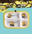 Bandeja de talheres infantil bonito dos desenhos animados pessoas pequenas amarelas tigela talheres infantis kidsdinnerware