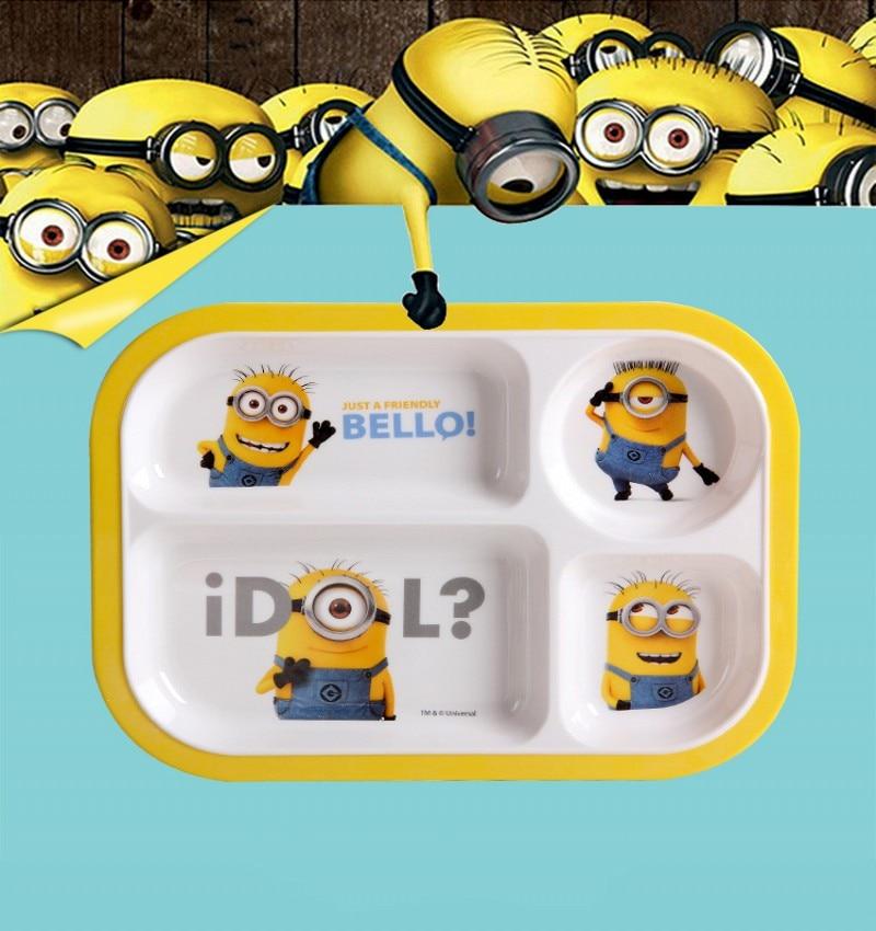 """ילדים מגש סכו""""ם חמוד קריקטורה אנשים קטנים צהוב קערה ילדים כלי שולחן kidsdinnerware"""