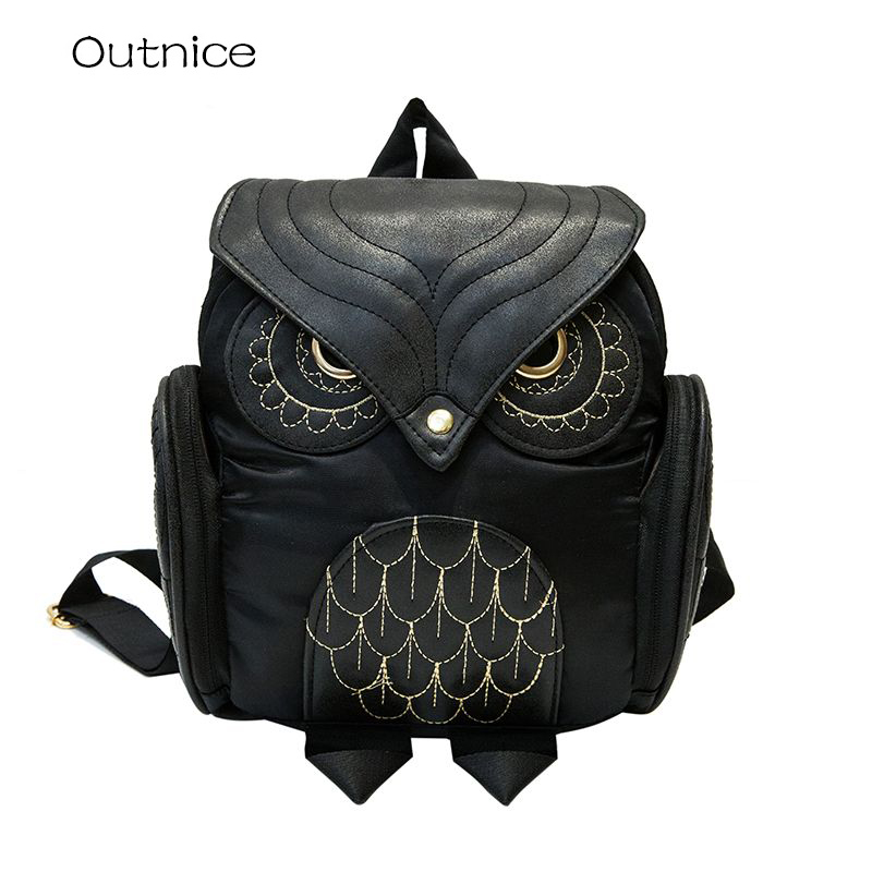 COOL Owl Backpack Youth Women Small Mini Backpacks PU Leather Batoh Rucksacks for College Girls Schoolbag sac a dos femme
