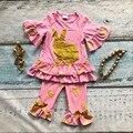 Девочки золотой кролик пасхальный одежда детей монетный двор-зеленый топ с капри брюки наряды девушки пасха партии устанавливает с аксессуарами