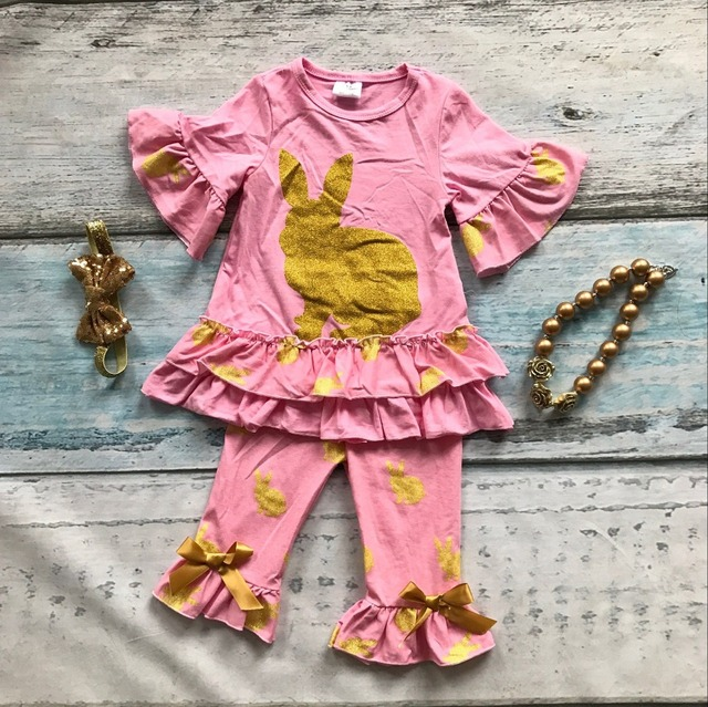 baby girls gold bunny easter clothing children mint green top with capri pant outfits girls easter party sets with accessories