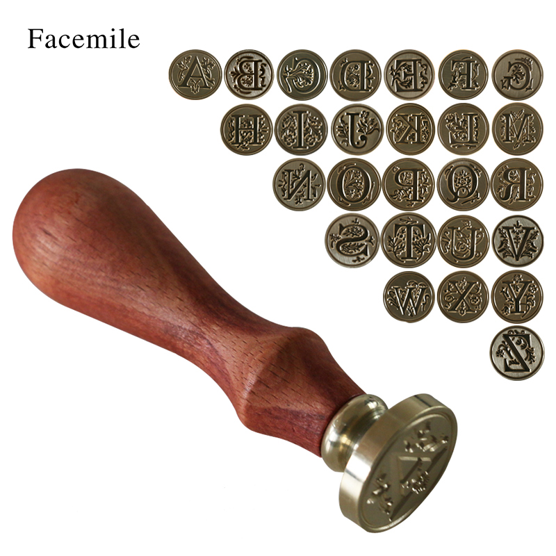 1PCS Wood Classic 26 Scrisoare A-Z Alphabet Initial Sealing Ceara Seal Stamp Post ZMYZ Decorative