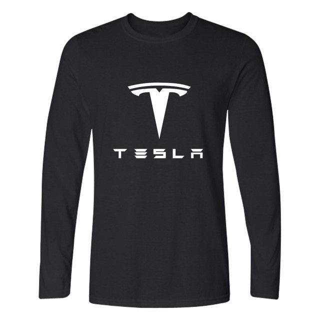 387ebe34 Fashion Tesla T shirt Men Long Sleeve TShirts with Tesla Motors Black and White  T Shirt in 4XL Brand Tee Shirts-in T-Shirts from Men's Clothing on ...