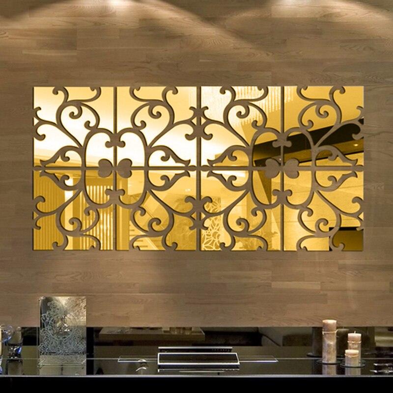 32pcs/set 3D Silver/Golden Mirror Wall Sticker Acrylic Modern Home Decoration Wall Decor Mirror Wall Stickers DIY poster Sticker