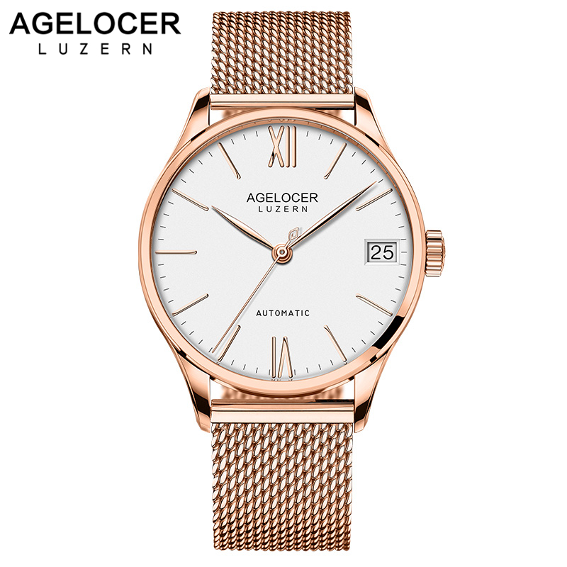 AGELOCER Luxury Brand Gold Steel Men's Automatic Wristwatch Fashion Dress Business Sport Watch Men Clock Relogio Masculino 2018