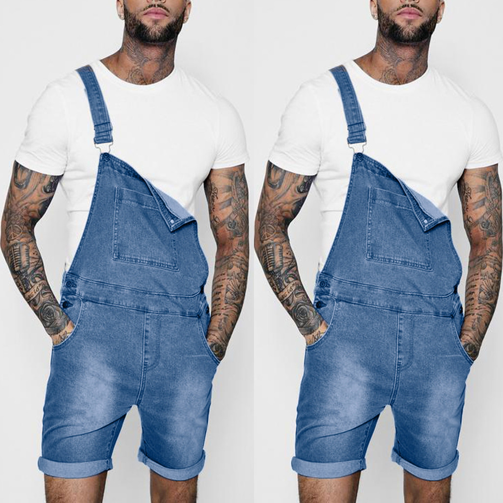 JAYCOSIN Summer Autumn Men's Overall Casual Playsuit   Jeans   Pocket Trousers Suspender Casual Pants Mar29 P30