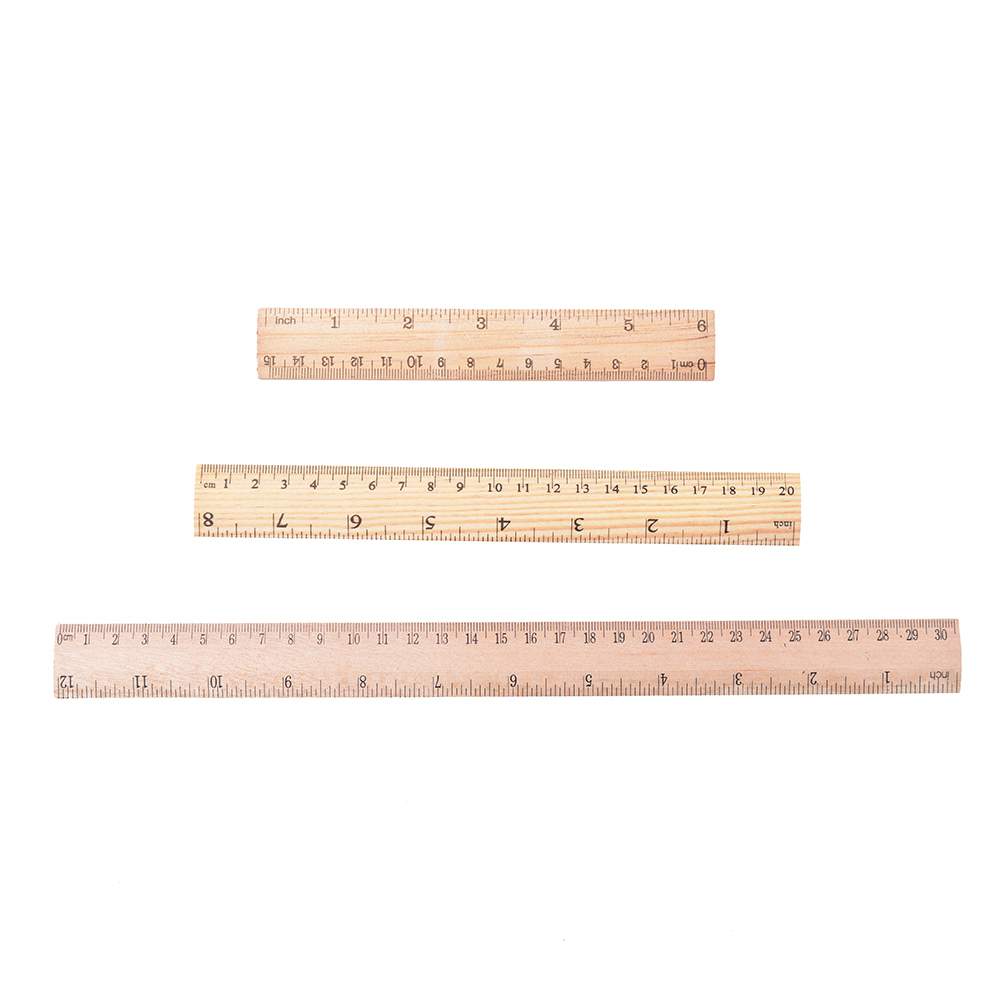 1pcs 15cm 20cm 30cm Wooden Ruler Learning Office Stationery Ruler Metric Rule Precision Double Sided Measuring Tool