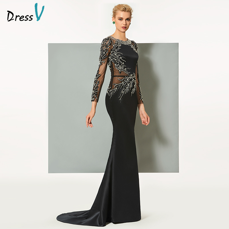 Dressv black long evening dress elegant scoop neck sweep train long sleeveless wedding party formal dress sheath evening dresses