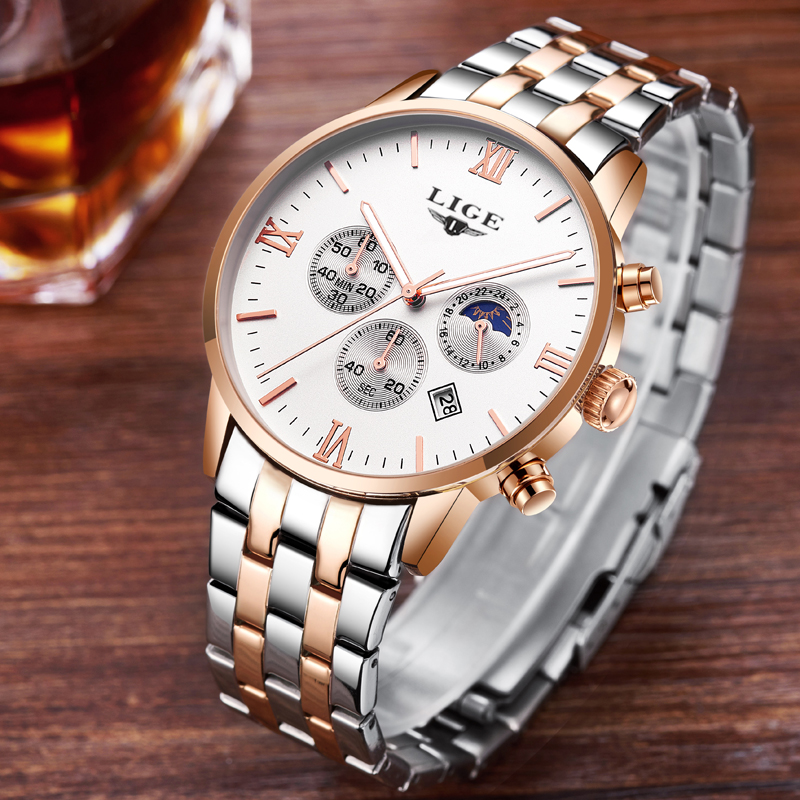 Mens Watches Top Brand Luxury LIGE Moon Phase full steel Watch Man Business Fashion Quartz Watches men Outdoor sports Relogio mens watches top brand luxury lige moon phase full steel watch man business fashion quartz sports men watches relogio masculino