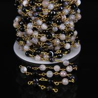 6mm Natural Agates Gems Copper Link Chain,Raw White Black Onyx Faceted Round Bead Brass Tone Wire Wrapped Rosary Chain