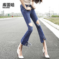 New ripped jeans women fashion popular spring-summer flared jeans low waist for females with pockets and tassels at the hem
