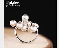 Uglyless Real S 990 Silver Balls Charm Rings for Women Exaggerated Beading Finger Ring Fashion Exotic Tassel Fine Jewelry Bijoux
