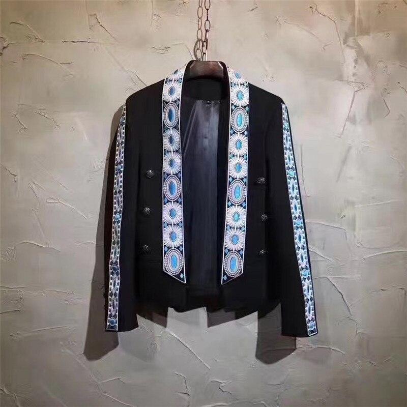 Luxury Embroidery Male Blazers Men Coat Terno Masculino Blazer Masculino Slim Fit Stage Show Suit Jacket The Host DJ DS Blazer