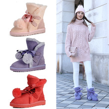 Casual warm comfortable winter classic hair ball straps decorated suede ladies snow boots Sheepskin with wool woman