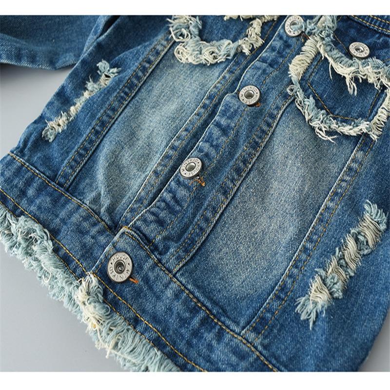 Girls Clothes Spring Autumn Kids Denim Coat Long-Sleeved Cartoon Jacket Fashionable Clothing For Girl 1-12y