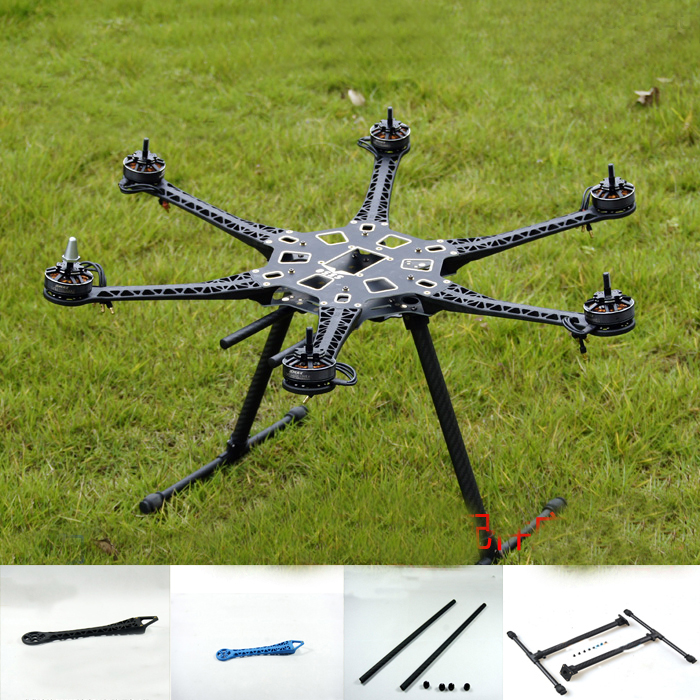 Yuenhoang 1Set S500 Hexacopter Multicopter Frame Kit with Carbon Fiber Lading Gear+Arm+Gimbal Bracket+Carbon Tube Clamp for UAV 30mm tube arm folding connector for agricultural plant protection uav multicopter