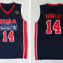 bbaa8160fe1d Ediwallen 1992 USA Dream Team One 14 Charles Barkley Basketball Jerseys  Uniform Navy Blue White Embroidery