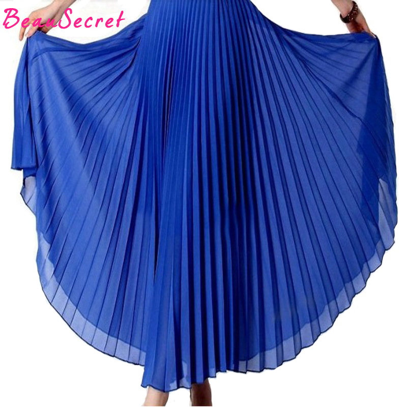 Chic 2018 summer bohemian pleated maxi skirts womens high waist chiffon long skirt autumn tutu elegant ladies black with belts