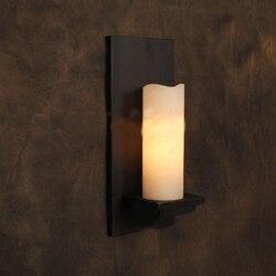 Rocznika ścianie kinkiet Lodge Retro żelaza lampy ścienne sztuczny marmur świeca kinkiet Cafe Bar przemysłowe oprawy oświetleniowe|Wewnętrzne kinkiety LED|   -